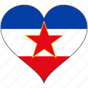 europe, european, flag, heart, yugoslavia icon
