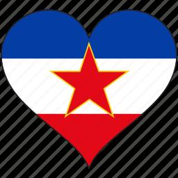 europe, european, flag, heart, yugoslavia icon
