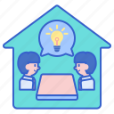 brainstorm, breakout, bulb, room icon