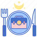 briefcase, business, cutlery, dinner icon