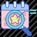 analytics, calendar, event, magnifying glass