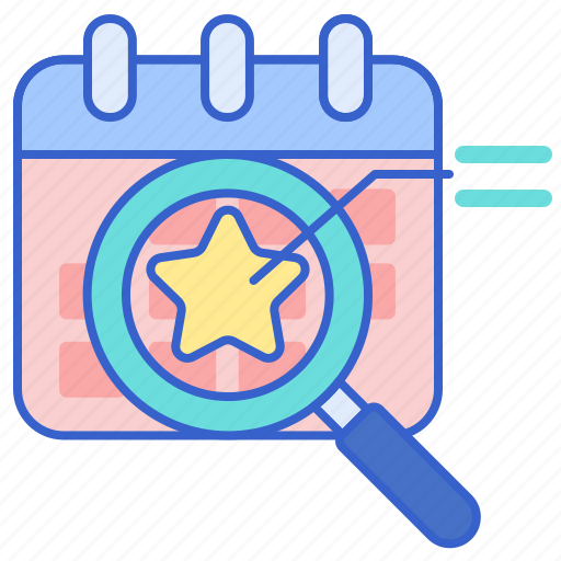 analytics, calendar, event, magnifying glass icon