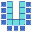 arrangement, seating, shape, u icon