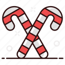 canes, confetti, candy, rainbow candy, christmastide, candy canes icon
