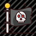 ensign, flag, flagpole, pennon, pirate, pirate flag, streamer icon