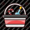 bucket, wine, alcoholic drink, wine bottle, champagne, chilled wine, alcoholic beverage icon