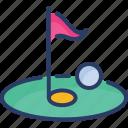 field, flag, game, golf, golf club, hole, sport
