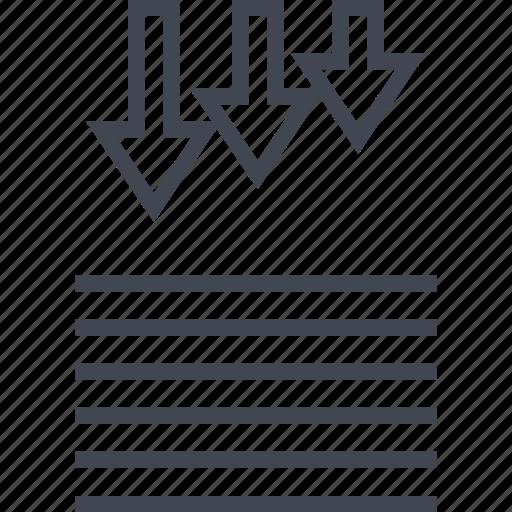 arrows, data, down, report icon