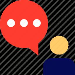 bubble, chat, person, talk icon