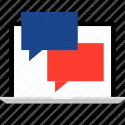 chat, laptop, sms, talk, talking icon