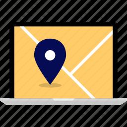 gps, laptop, map, pin icon