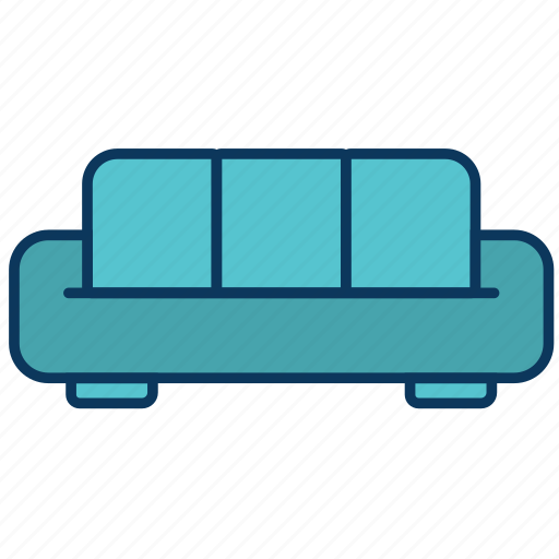 couch, sofa, three-seater, two-seater icon