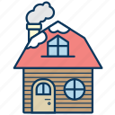 cottage, frame house, holiday house, house, snow, winter icon
