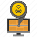 car, location, monitor, pointer, screen, taxi icon