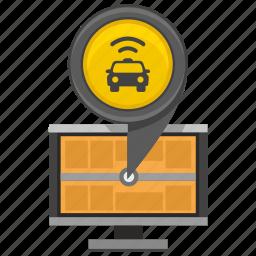 car, location, monitor, pointer, screen, taxi icon