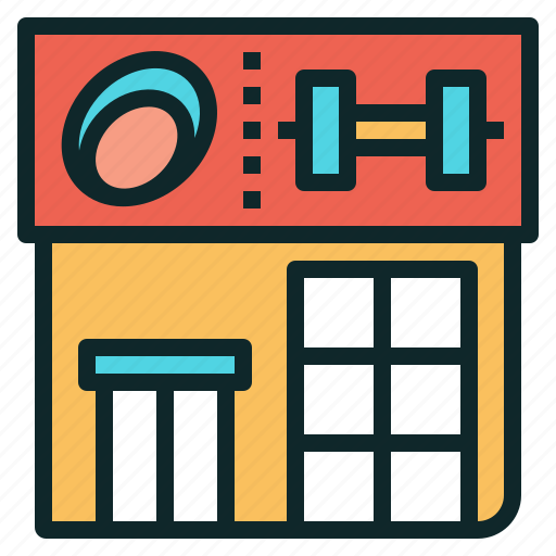 building, fitness, gym, place icon