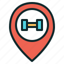 dumbbell, fitness, gym, location icon