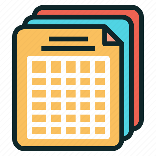 document, report, schedule, summary, table, training icon