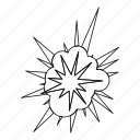 blast, bomb, boom, explosion, line, outline, thin icon