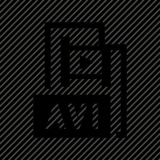 avi, extension, file, film, format, video icon
