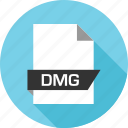 dmg, extension, file, name icon