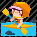 canoeing, kayak, kayaking, sport, water icon