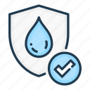 check, drop, proof, tick, water, waterproof icon