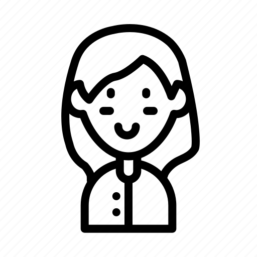 avatar, girl, hair, school, straight, student, uniform icon