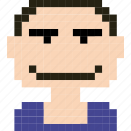 avatar, face, human, man, person, pixelated, worker icon