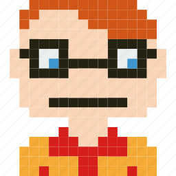 avatar, face, human, man, person, pixelated, student icon