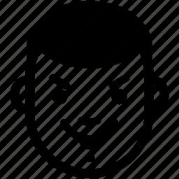 boy, emotion, evil, expression, face, head, man icon