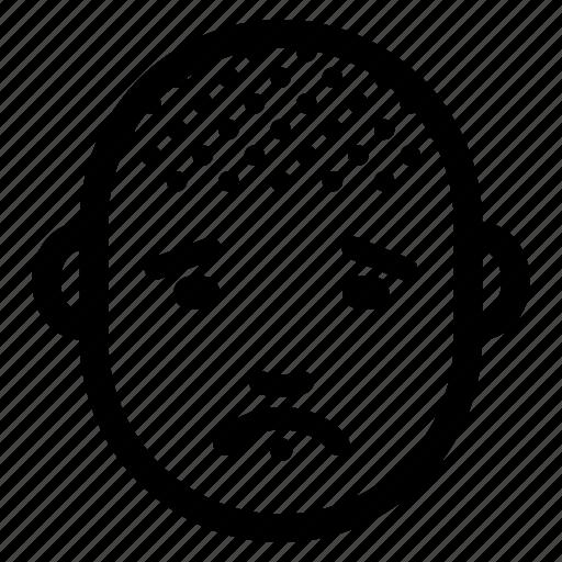 bald, emotion, face, head, male, man, sad icon