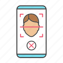 app, face, lock, mobile, rejection, scan, smartphone icon