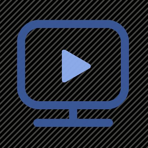 cinema, facebook, media, monitor, movie, play, social icon