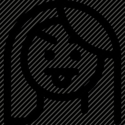 Irrespectful, mischief, tongue, unpleased, woman icon - Download on Iconfinder