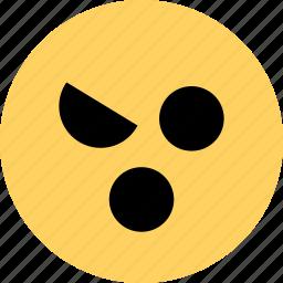 anger, avatar, emoji, emotion, face, wink icon