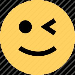 avatar, emoji, emotion, faces, wink icon