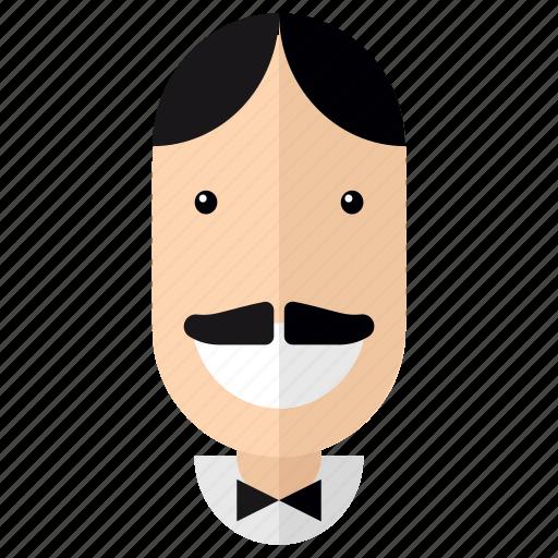 avatar, faces, father, male, man, moustache, profile icon