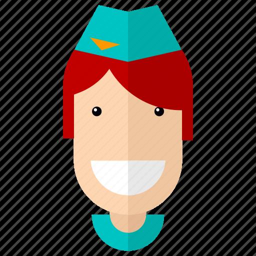 avatar, faces, professions, profile, services, stewardess, woman icon