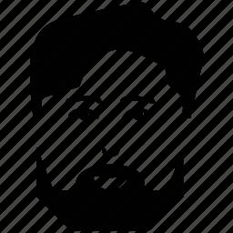 avatar, beard on face, client, customer, man, man face, user icon