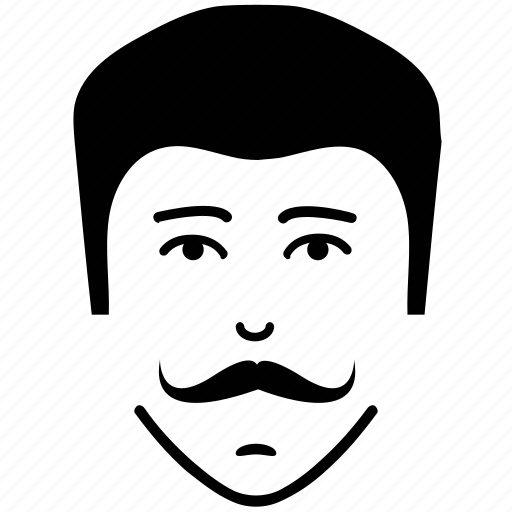curly moustache, man, moustache on face, user icon
