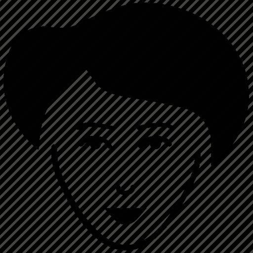 female, feminine, lady face, lady short hair, short hair icon
