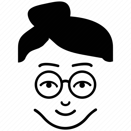 Bun hair, fashionable, female, lady, lady with glasses, woman icon - Download on Iconfinder