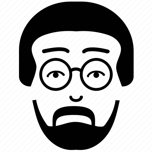 beard, beard on face, british guy, client, mustache, professor with glasses icon