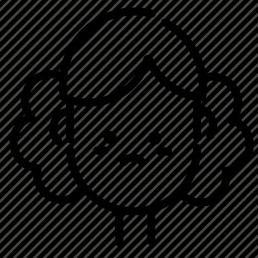 emoji, emoticon, face, girl, people, smile, woman icon