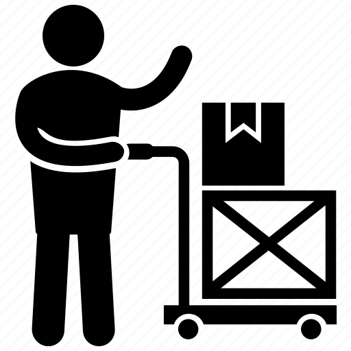 baggage carrier, factory labour, factory porter, human pictogram, luggage carrier icon