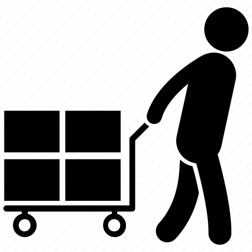 baggage carrier, factory labour, human pictogram, luggage carrier, porter icon