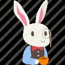bowtie, cute, monocle, rabbit, tea, waiter, white icon