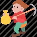 dwarf, gnome, halfling, hobbit, miner, snow white icon