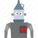 character, friendly, heart, oz, robot, tinman, wizard icon